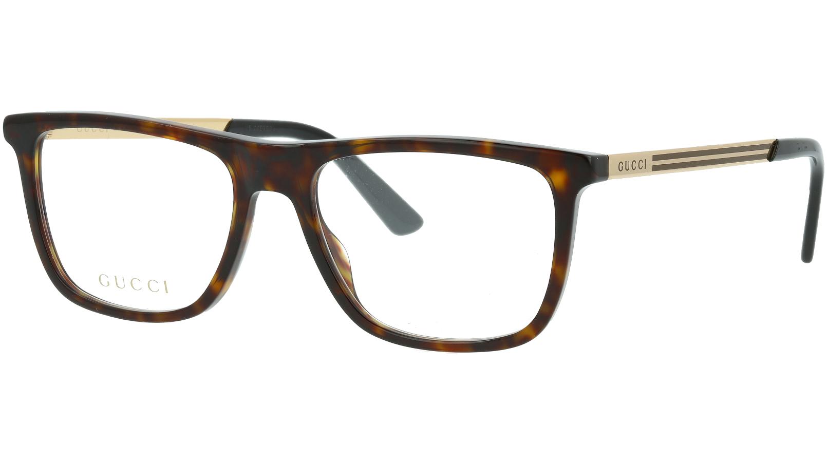 Gucci GG0691O 002 54 Havana Rectangle Glasses