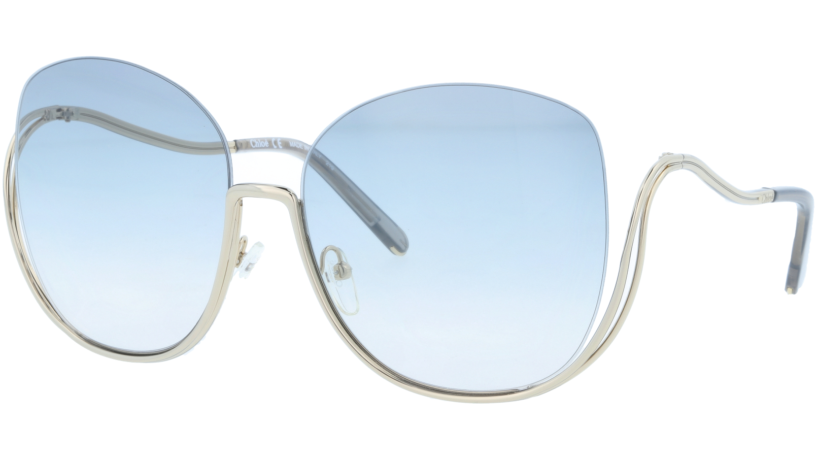 CHLOE CE125S 734 64 Gold Transparent Blue Butterfly Sunglasses