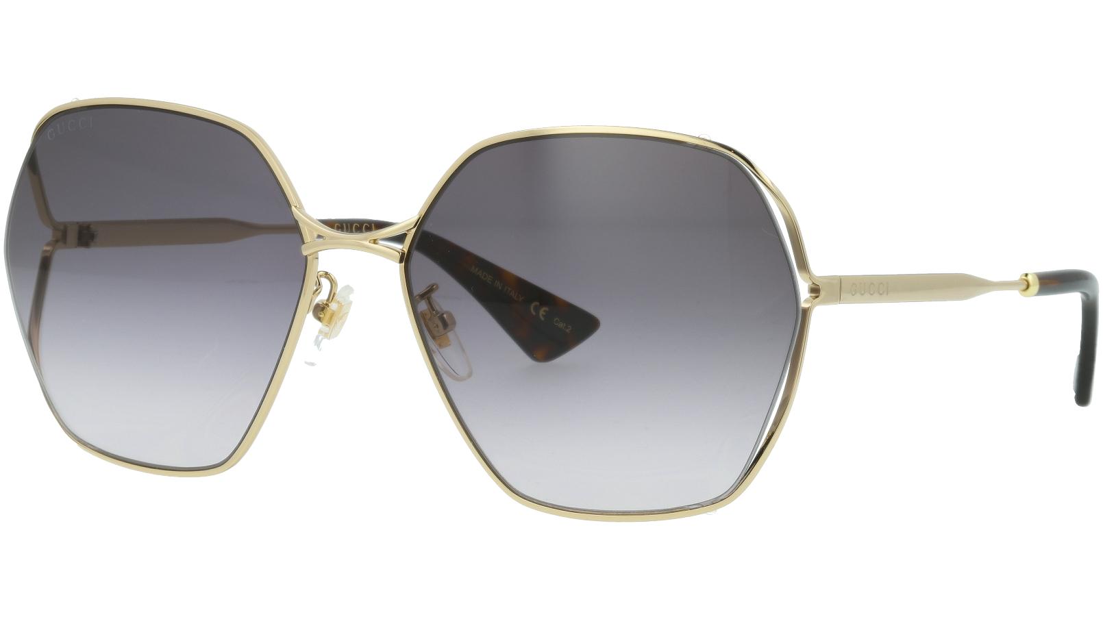 Gucci GG0818SA 001 63 Gold Full-Rim Sunglasses