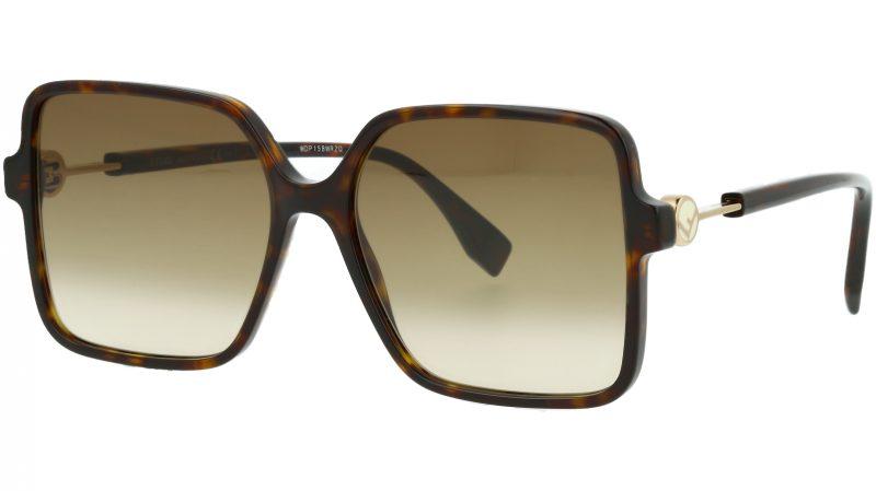 FENDI FF0411/S 086HA 58 Dark Havana Square Sunglasses