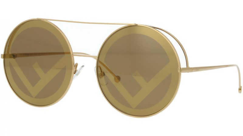FENDI FF0285/S J5GEB 63 Gold Round Sunglasses