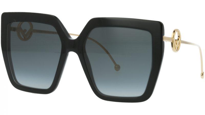 FENDI FF0410/S 80790 56 Black Square Sunglasses