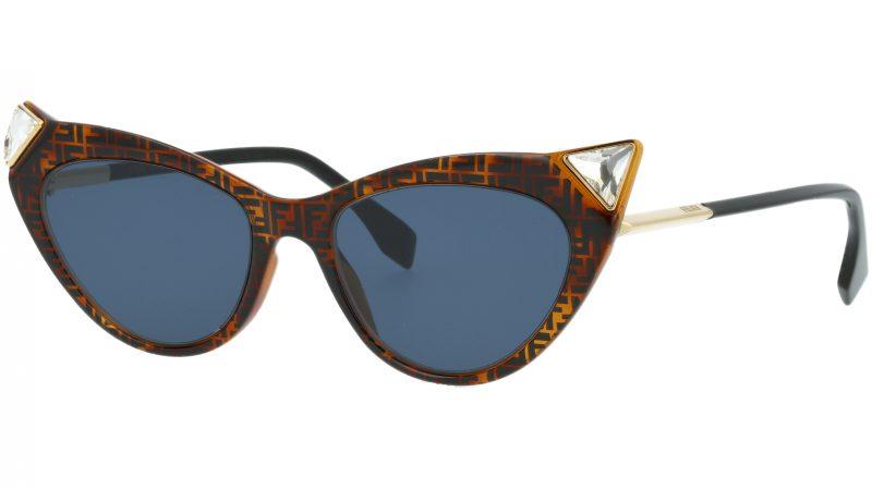 FENDI FF0356/S 086KU 52 Dark Havana Cat-Eye Sunglasses