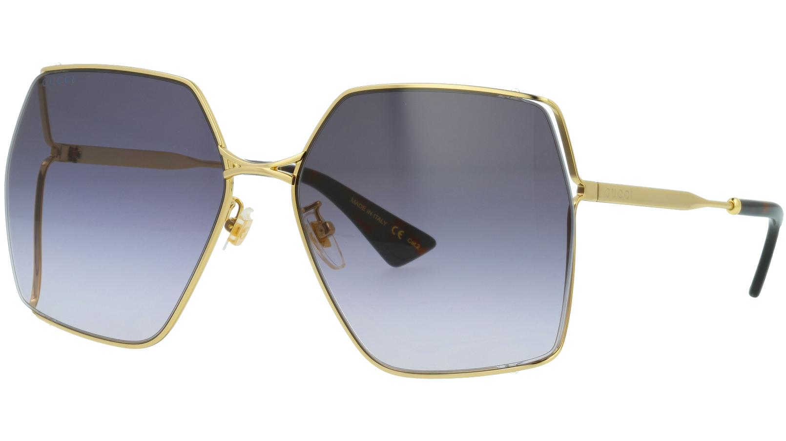 Gucci GG0817S 001 65 Gold Polygon Sunglasses