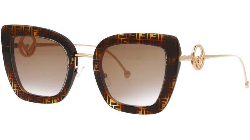 FENDI FF0408/S 086QR 51 Dark Havana Cat-Eye Sunglasses